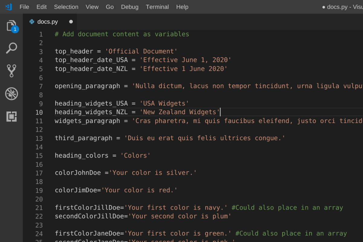 VS Code Python Screenshot